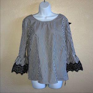 NWT XL Black and White Blouse